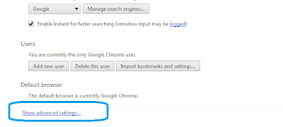 Advance setting option in Chrome: Intelligent Computing