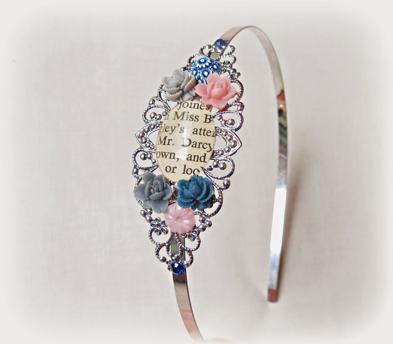 image mr darcy headband alice band two cheeky monkeys jane austen pride and prejudice silver filigree text words book page floral cabochons flowers grey gray navy pink blue