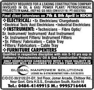 Oil & Gas Construction Company UAE Jobs 2017