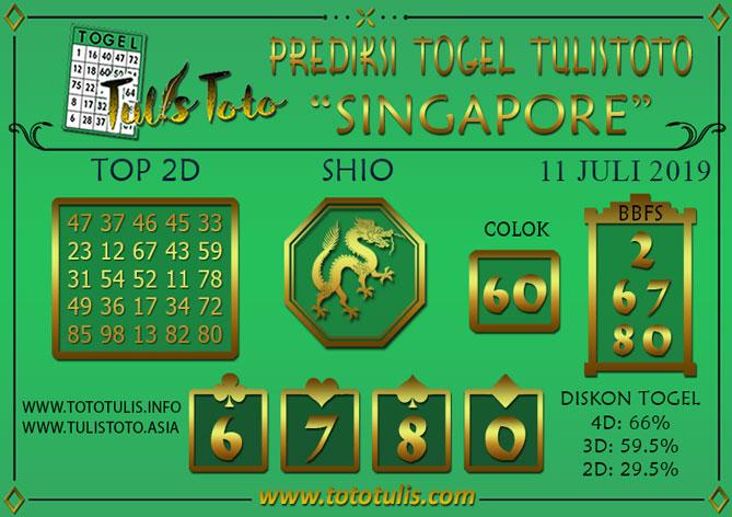 Prediksi Togel SINGAPORE TULISTOTO 11 JULI 2019