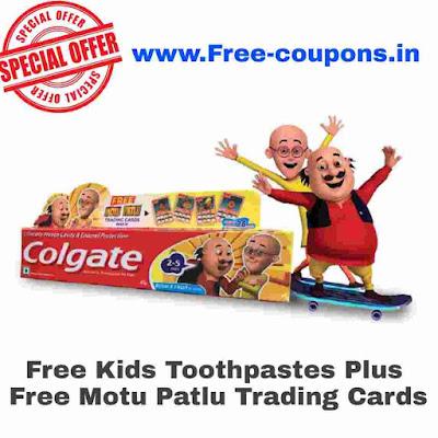 Free Kid Toothpaste Plus Free Motu Patlu Trading Cards