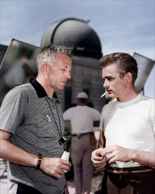 Nicholas Ray and James Dean during filming of Rebel Without a Cause