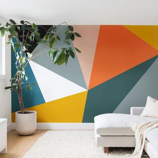 Paredes com pintura geométricas vibrantes