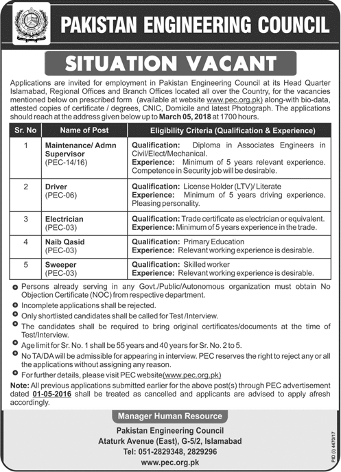 PEC Jobs in Islamabad, PEC Jobs, Jobs in Lahore, Jobs in Karachi, Jobs in Peshawar, Jobs in Multan, Jobs in Quetta