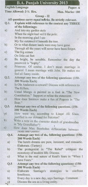 ba english paper punjab university 2013
