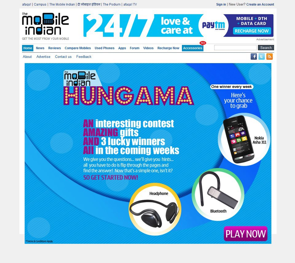 Contest !! Mobile Indian Hungama contest WIN a brand new