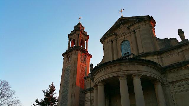 Chapel of St. Charles Seminary at dusk
