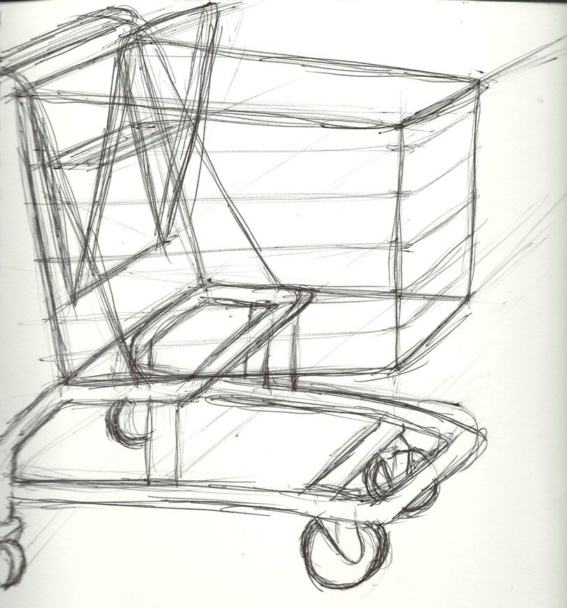 This is a picture of Vibrant Shopping Cart Drawing