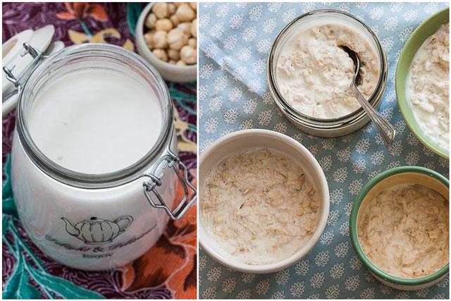 Domaće mlijeko od kokosa i lješnika i hladna ovsena kaša - kolaž