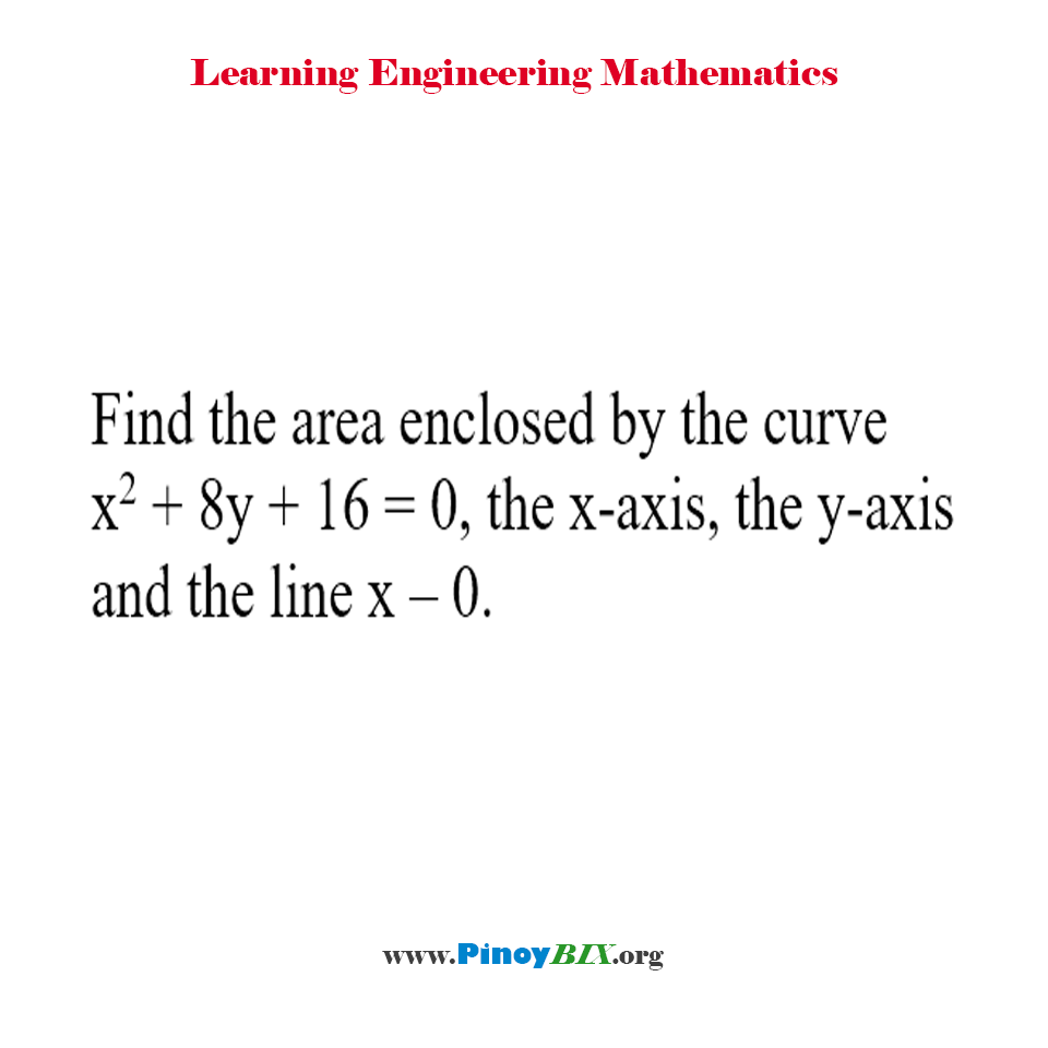 Find the area enclosed by the curve x^2 + 8y + 16 = 0, the x-axis, the y-axis and the line