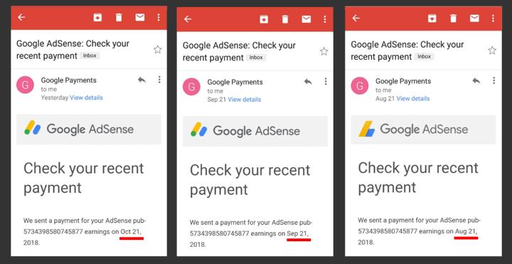 Adsense bayar setiap bulan