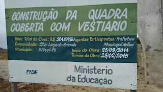 Em Picuí, obra de quadra está parada e inacabada; custos passam de Meio Milhão de Reais