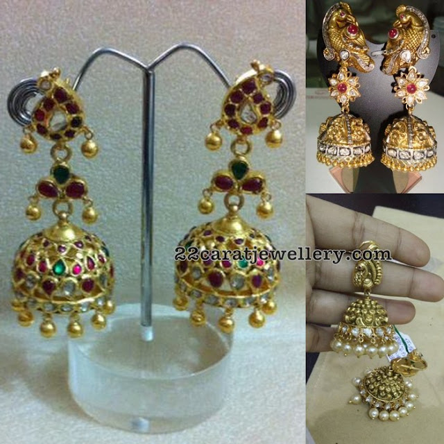 Trendy Antique Jhumkas Peacock Style