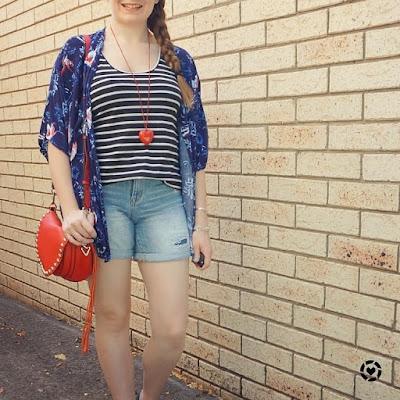 awayfromtheblue instagram print mixing stripe tank floral kimono denim shorts outfit