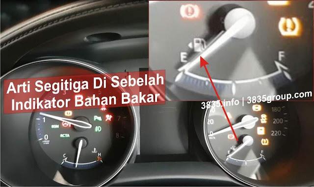 Arti Segitiga Di Sebelah indikator Bahan Bakar Mobil