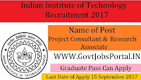 Indian Institute of Technology Recruitment 2017– Project Consultant, Research Associate