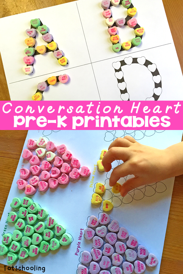 FREE Valentine's Day printables to go along with candy hearts for preschoolers to practice the alphabet, counting, patterns, colors and letters.
