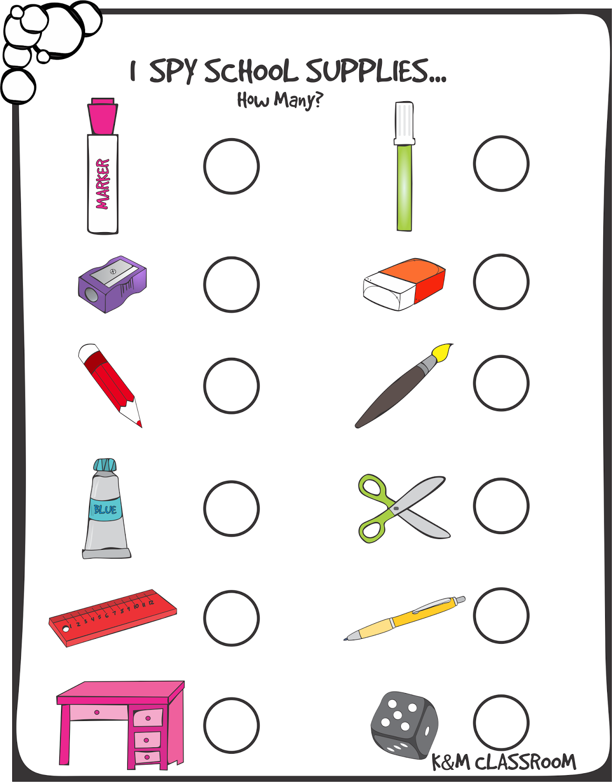 Km Classroom Free Printable I Spy School Supplies