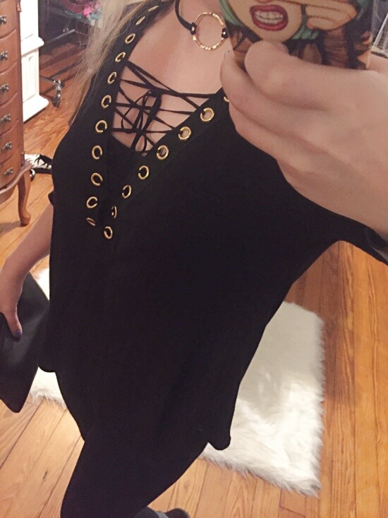 gold o-ring lace up outfit of the day