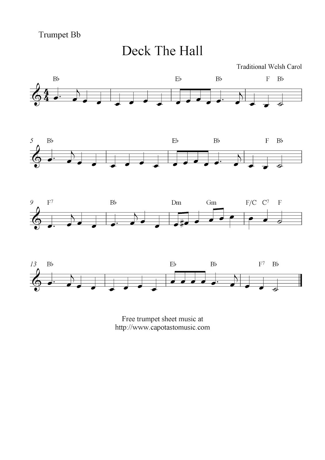 deck the halls free christmas trumpet sheet music - Free Christmas Sheet Music
