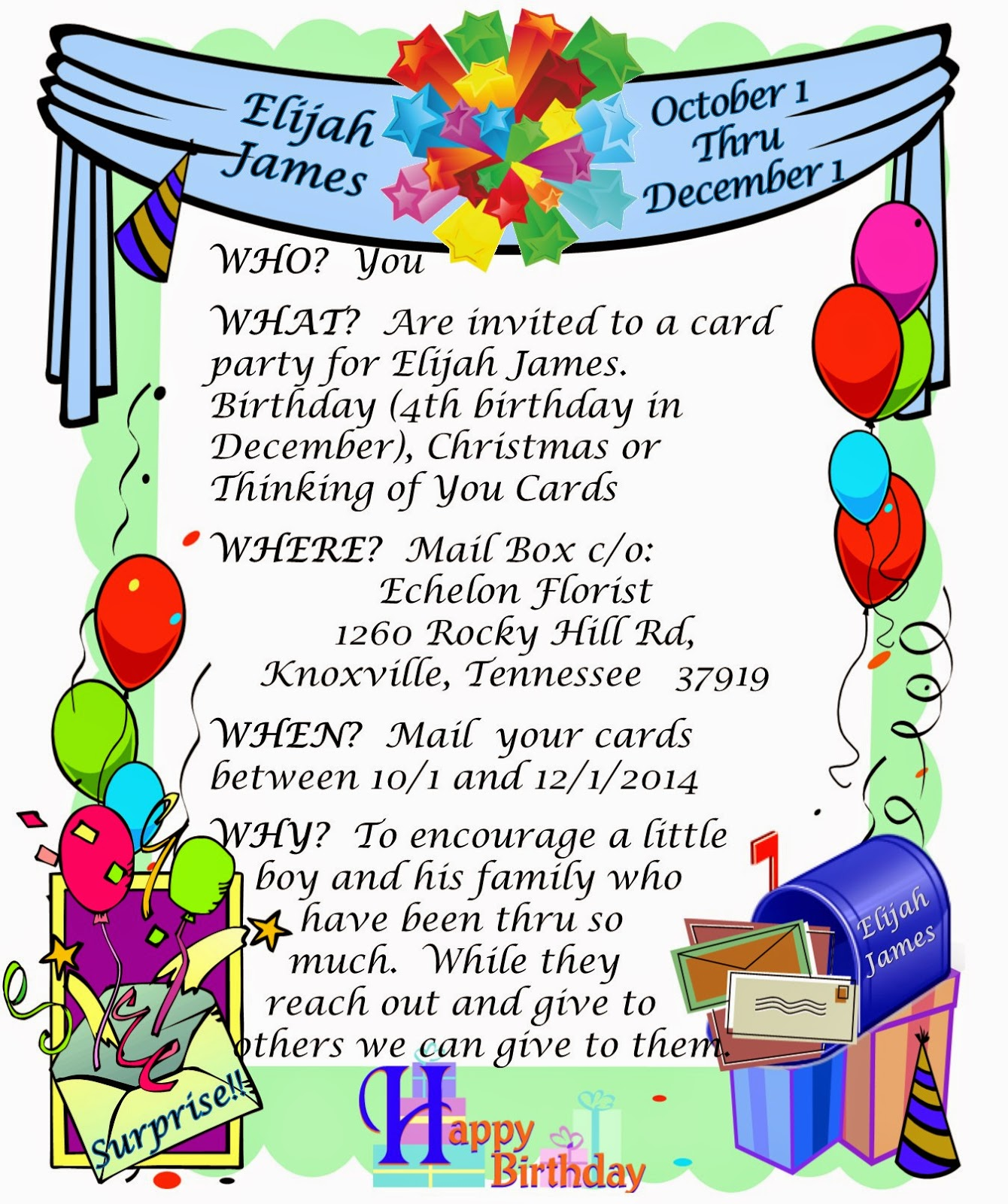 Elijah James Card Party Invitation