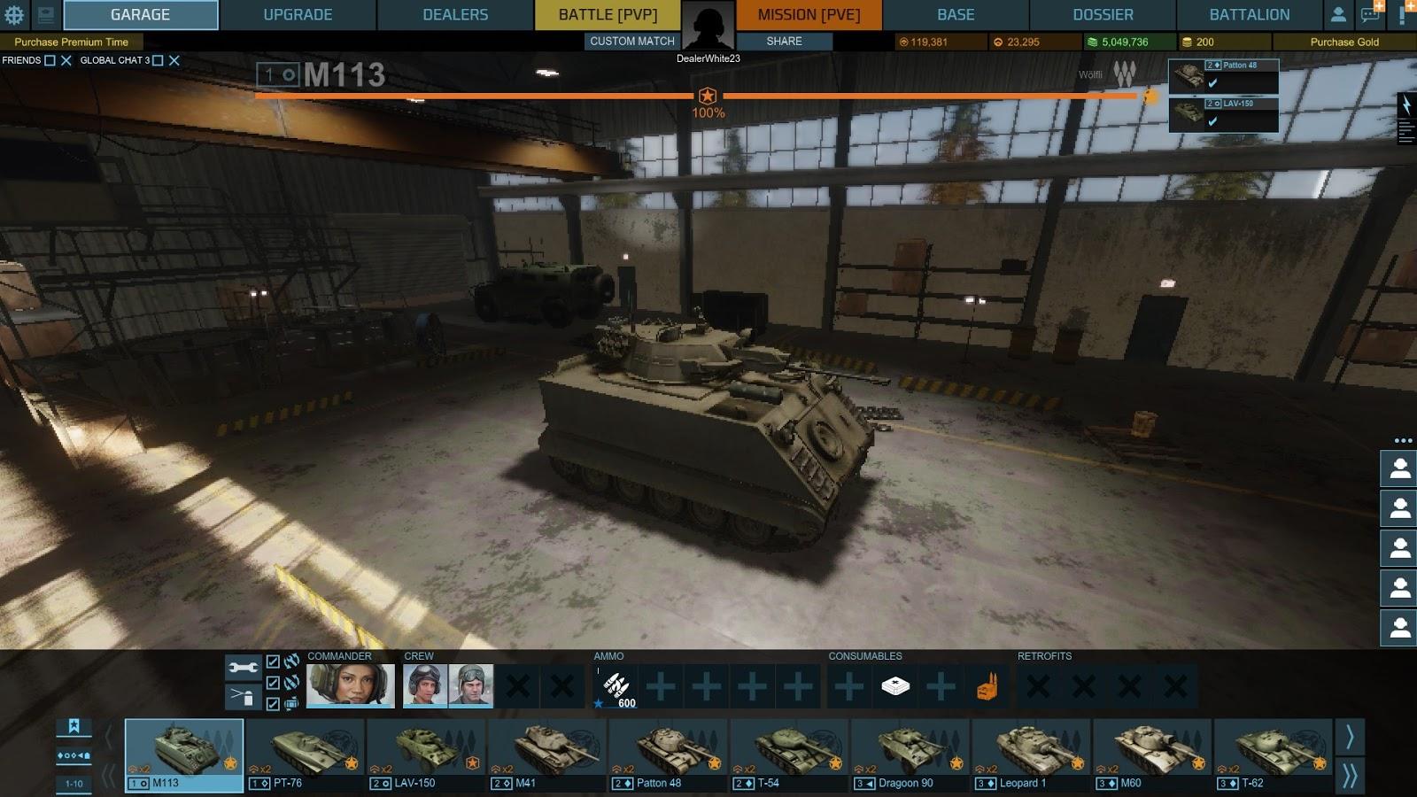 armored warfare garage slots