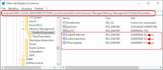 Registro di Windows - Prefetch e Superfetch