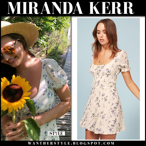 Miranda Kerr in floral print summer dress reformation model summer style august 4