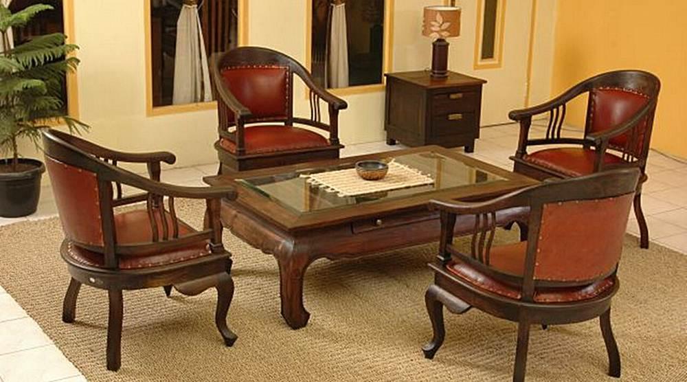 meja tamu ruang tamu antik