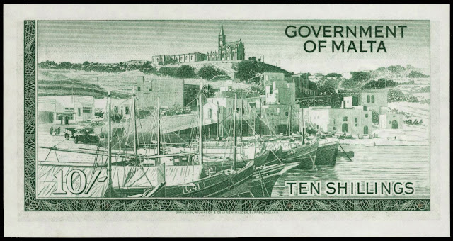 Malta money currency 10 Shillings banknote 1949 Mgarr Harbor