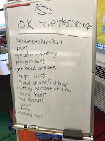 Students brainstormed times it is okay to enter someone's personal space