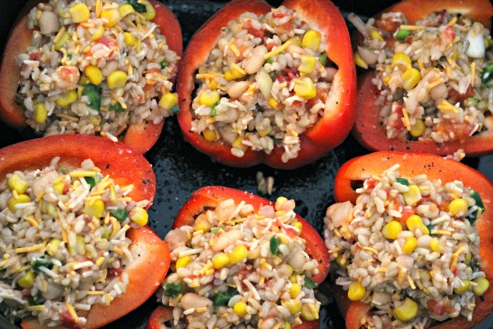 Slow Cooker Rice, Bean and Veggie Stuffed Peppers (Meatless) | Renee's Kitchen Adventures