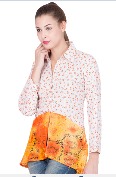 White floral and orange embellished shirt