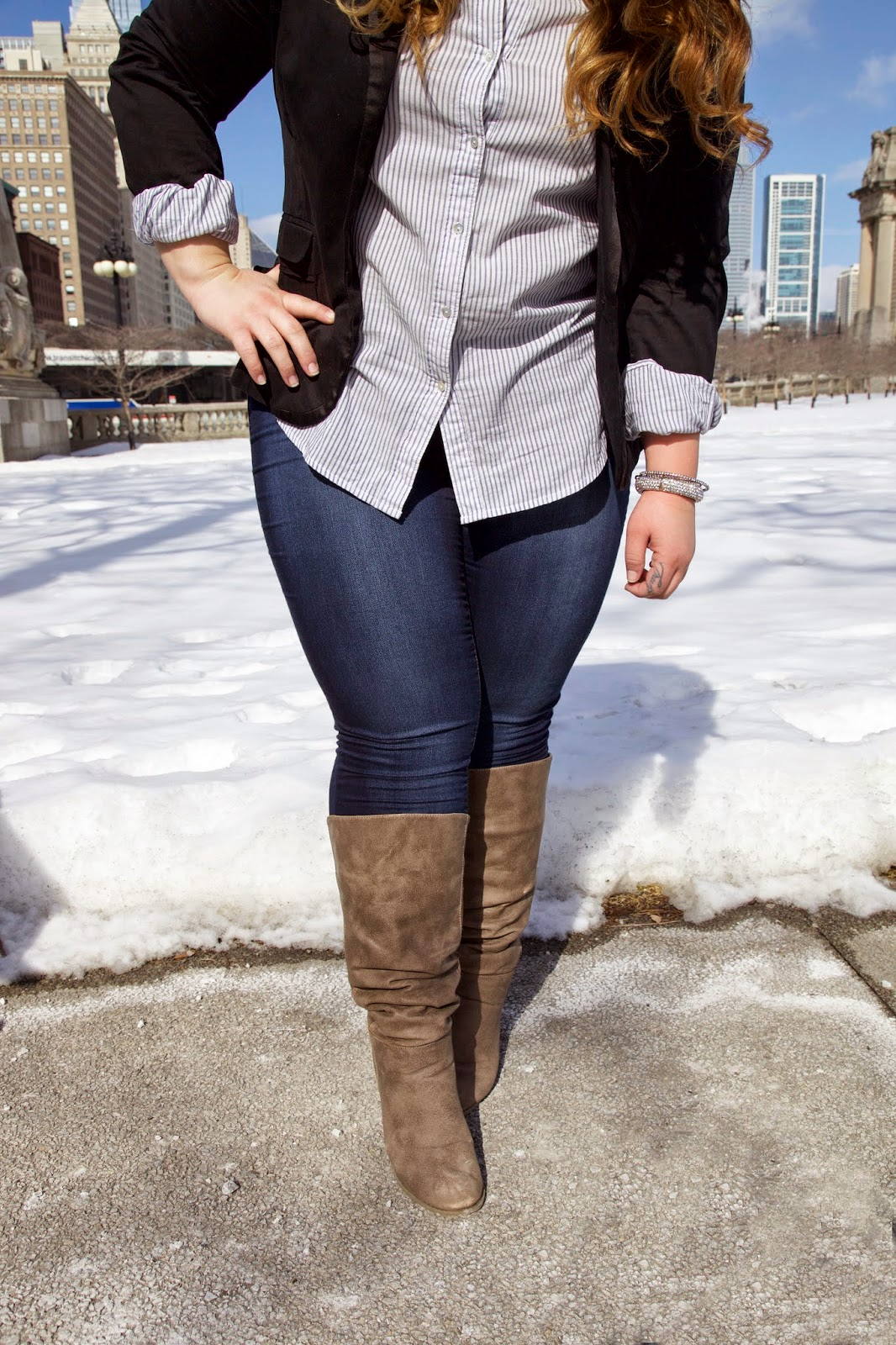 Stylzoo, amazon, chicago, fashion blogger, plus size fashion blogger, natalie craig, natalie in the city, blazer, skinny jeans, comfortable jeans, wide calf boots, plus size blazer, fatshion, thick girls, curvy women, full figured, jeggings, business casual style