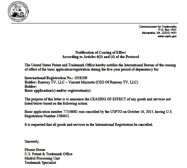 runway-magazine-cancelled-trademark-vincent-mazzotta-midnight-case-desist-USPTO-attorney