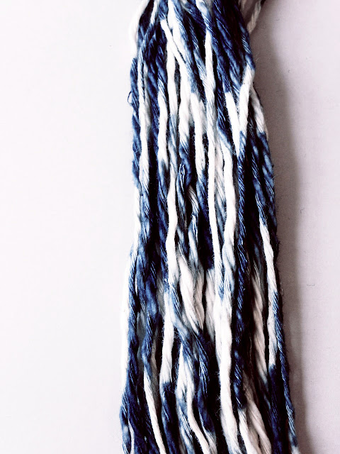 Hand-dyed indigo kasuri yarn © Laura Luchtman
