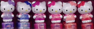Hello Kitty peelable nail polish Dollar Tree haul purple blue pink peach red cute figurine