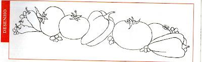 risco de tomates e pimentões para pintar em tecido