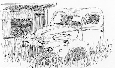 art sketch pen ink truck abandoned ford chicken coop