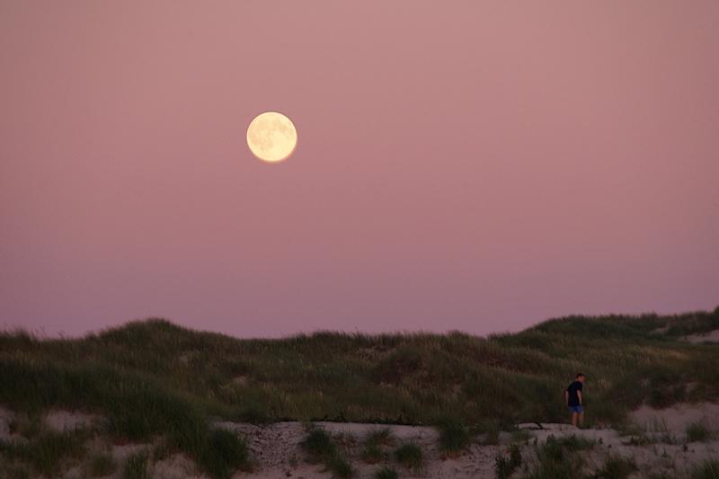 Vollmond Sonnenuntergang Strand Düne Amrum