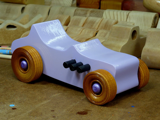 Wooden Toy Car - Hot Rod Freaky Ford - T Bucket - MDF - Lavender - Amber Shellac - Metallic Purple