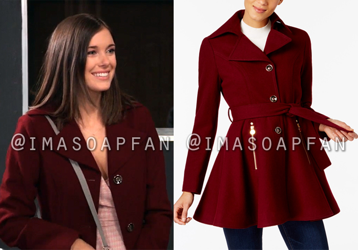 Willow Tait, Katelyn MacMullen, Dark Red Skirted Wool Blend Coat, General Hospital, GH