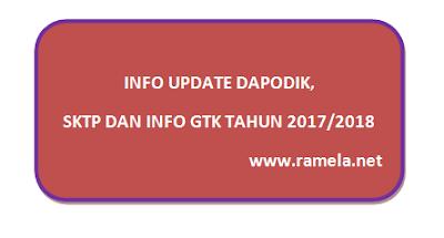 Info Update Dapodik, SKTP dan Info GTK Tahun 2017/2018