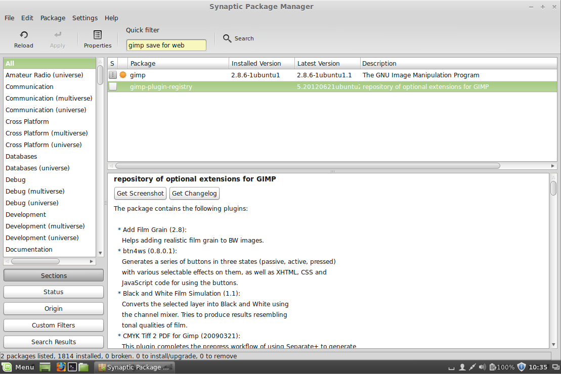 Linux Mint - Synaptic Package Manager - Installing GIMP