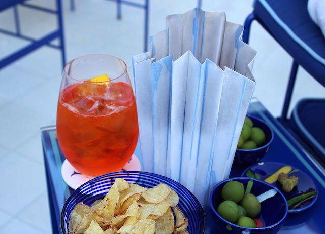 Spritz and some nibbles at Franco's bar in Positano