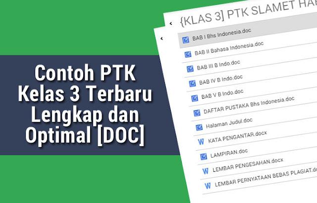 Contoh PTK Kelas 3 Terbaru Lengkap dan Optimal [DOC]