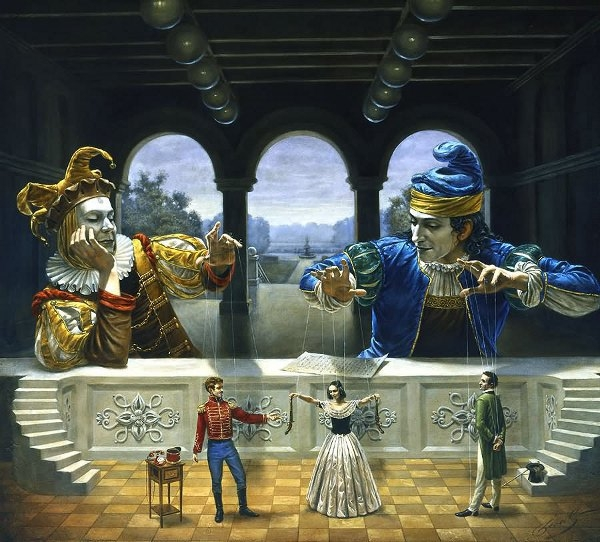 01-art-of-diplomacy-Michael-Cheval-Surreal-Paintings-that-Draw-inspiration-from-The-East-and-West-www-designstack-co