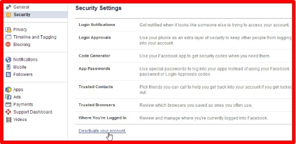 how to deactivate facebook account temporarily