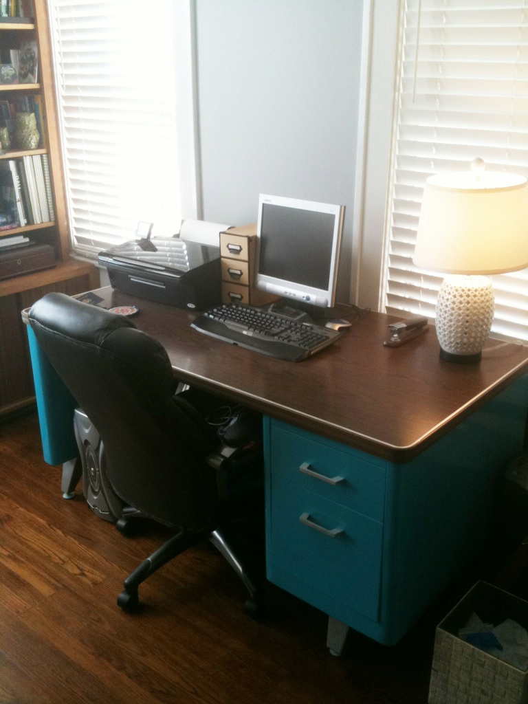 Katherine Paige Creates Vintage Steel Tanker Desk Completed