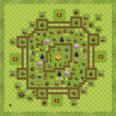 War Base Town Hall Level 10 By elbarto2003 (War TH 10 Layout)